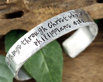 I can do all things through Christ who Strengthens me, Aluminum Cuff Bracelet, Inspiration Bracelet, Custom Cuff Bracelet, Message Cuff