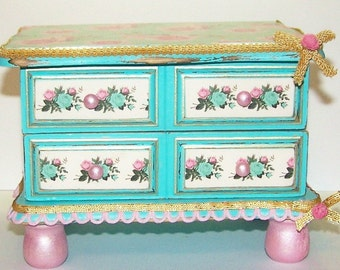 Jewelry Box, Decorated Jewelry Box, Teal, Roses, Pink Roses, Vintage, Shabby Chic, Cottage Chic, Storage, Gifts for Her, Free Shipping,