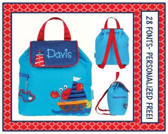 28 Fonts-Toddler Boy's NAUTICAL CRAB Personalized Blue Backpack- Quilted Book Bag Monogrammed FREE