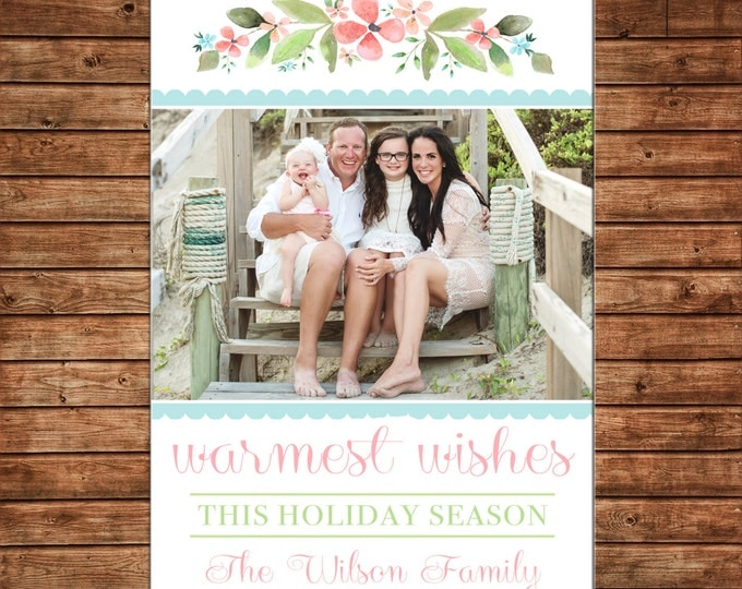 Photo Picture Christmas Holiday Card Beach Picture Warmest Wishes Watercolor Floral Laurel Mint Peach Green - Digital File