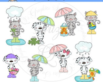 Raining Cats & Dogs EXCLUSIVE Clipart Collection - Immediate Download