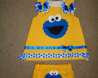 Blue Monster that Loves Cookies First Birthday Jumper Set