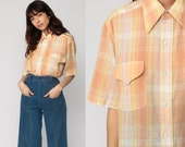 Plaid Shirt 70s Shirt Button Up Checkered Print Preppy Collared 1970s Top Short Sleeve Vintage Hipster Orange Yellow Large