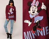 Minnie Mouse Sweatshirt Disney Sweater 80s Grunge Shirt Cotton Burgundy Cartoon Graphic Print Vintage Hipster Long Sleeve Retro Extra Large