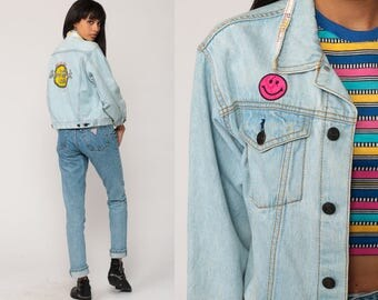 70s Denim Jacket HARD ROCK CAFE Jean Jacket Paris Coat Save The Planet Blue Smiley Face Patch Vintage Oversized Trucker Small