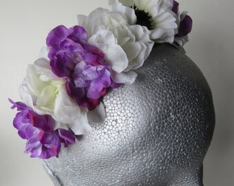 Purple & white floral tiara, white satin band, bridal flower headpiece, flower girl hair, festival floral tiara