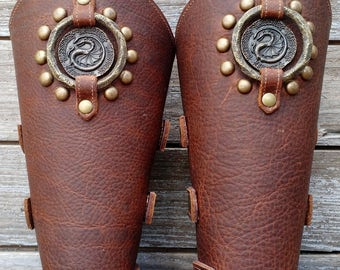 Oiled Brown Bracer Pair Armor Ren Faire SCA w Dragon concho, Spots and Primitive Antiqued Brass Ring