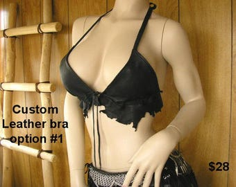 Leather Bra,A or B cup, Made to Order, Deerskin leather bra with several options to choose from, order by your cup size