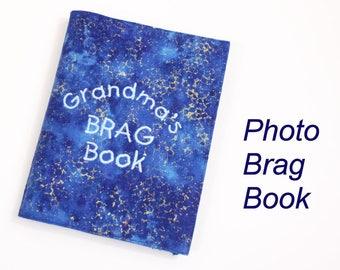 Blue Photo Brag Book, Grandma's Mini Photo Album, 4 x 6 inch Photo Holder, Personalized Brag Book, Photo Scrapbook for 36 photos, Mini Album
