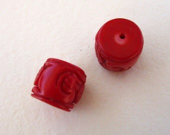 Hand Carved Red Coral Beads