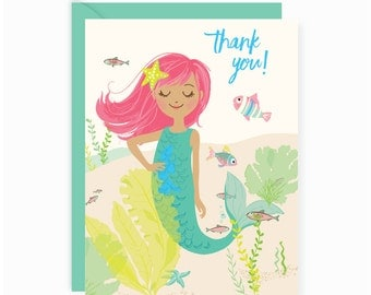 Mermaid cards, Thank You, note cards