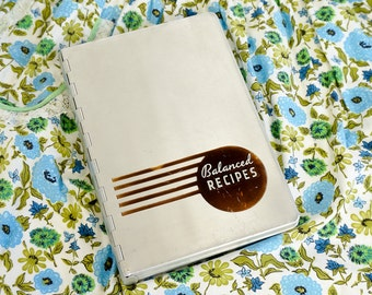 Vintage 1930s Cookbook / Balanced Recipes by Pillsbury 1933 Aluminum Cover / Handwritten Recipes Included