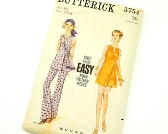 Shop Sale Vintage 1960s Butterick Pattern 5754 / 60s Womens Size 10 One Piece Dress or Tunic and Pants / bust 32.5 waist 24 / Complete