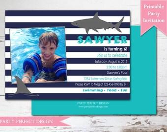Shark, Rugby Stripe, Preppy Birthday invitation Printable Birthday Invitation- Print Your Own