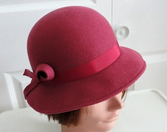 70s Pink Doeskin Felt Women Hat Small 21 1/4 inches