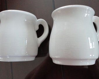 70s White Set of 2 Laurentian  Pottery  Beer Mug Canada