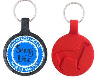 Snug Life Personalized Dog ID Pet Tag Custom Pet Tag You Choose Tag Size & Colors, More Colors!