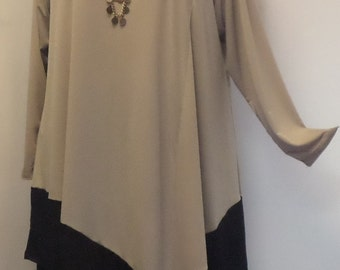 Coco and Juan Plus Size Tunic Lagenlook Sand and Black Angel Tunic Top Size 1 (fits 1X,2X)   Bust 50 inches