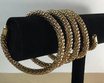 Coil Mesh Bracelet, Vintage Gold Tone Adjustable