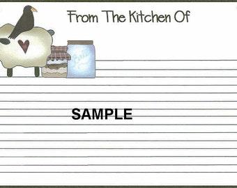Prim Sheep n Crow Recipe Cards ~ R35