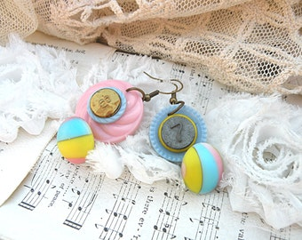 vintage pastel button earrings assemblage spring dangles upcycled jewelry cottage chic