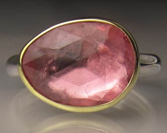 Rose Cut Pink Tourmaline Cocktail Ring - 18k Yellow Gold and Sterling Silver