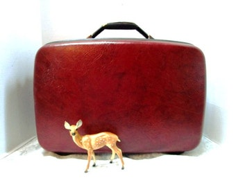 Vintage Samsonite Silhouette Weekender Suitcase Complete w/ Key Maroon, Overnight Travel, Hardside, Luggage, Air Travel