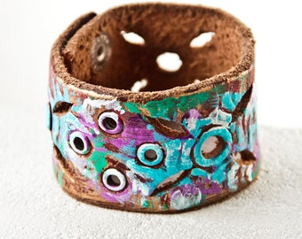 Boho Jewelry Turquoise Cuff Bracelet Gypsy Purple