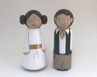 The Original Princess Leia Han Solo Peg Doll Cake Toppers Ready to Ship