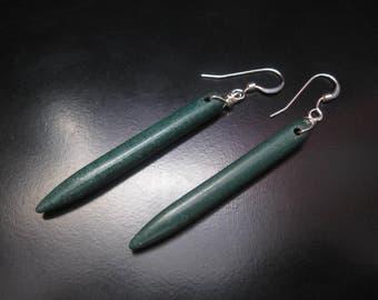 Green Spike Earrings, Green Howlite Spike Sticks, Green Earrings, Green Howlite Earrings, Turquoise Earrings, Howlite Dangle Drop Earrings