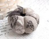 Black and White Botanical Cotton Pumpkin Pincushion Fall Decor Halloween Pumpkin