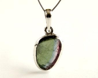 Tourmaline Pendant Sterling Silver With Natural Green Blue Pink Tourmaline Necklace Tourmaline Crystal Tourmaline Jewelry