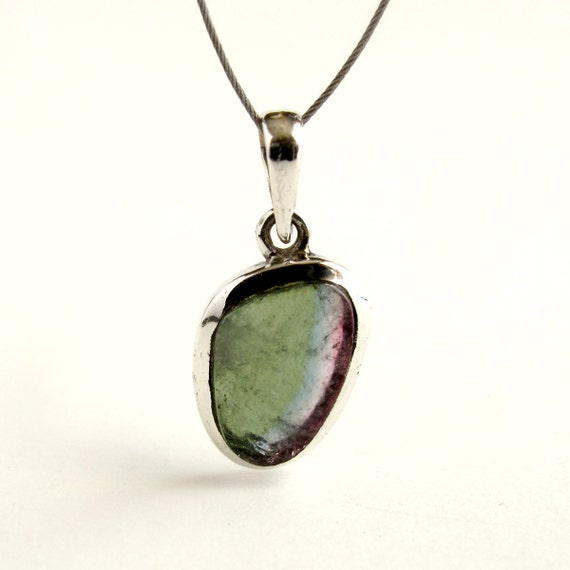 tourmaline pendant sterling silver with green blue