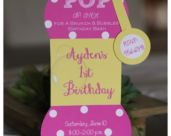 10 Bubble  Birthday Invitations  by Palm Beach Polkadots