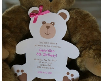 10 Bear invitations for a Build A Bear Birthday or Baby Shower by Palm Beach Polkadots