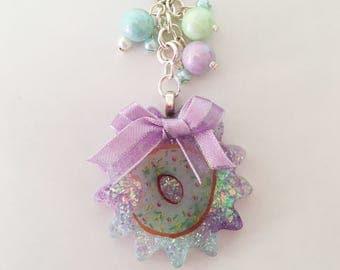 Doughnut Glittery Resin Keychain / Bag Charm
