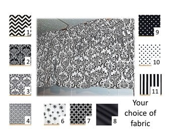 Black & White Valance or Curtains in your choice of fabric -  Lined or Unlined - FREE Domestic Ship