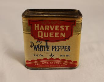 Vintage RED OWL Stores Harvest Queen WHITE Pepper Spice Tin