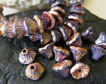 Flower Beads, Czech Glass Beads, Etched Glass Beads, 7x5mm- Matte Infernal (20)
