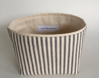 new ~  small fabric storage bin // blue ticking stripe