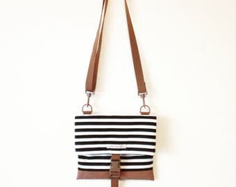 Canvas Crossbody Bag, Crossbody Bags for Travel, Travel Bag, Foldover Crossbody bag, Shoulder Bag, Hip Bag, Fold Over, Striped Bag