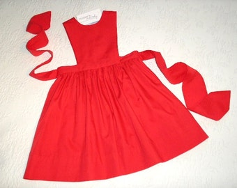 Ready to Ship Red Jumper, size 4, in easy care broadcloth.