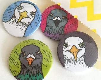 Pack of 4 Angry Bird badges / buttons, Seagull and Pigeon badges, positive badges, lapel pin, Pin, party bag fillers, party favours,