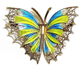 European Art Nouveau Plique-a-Jour Enamel Butterfly Figural Brooch