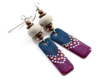 Teal Plum and Gray Boho Chic Earrings, Paint and Resin Earrings, Artisan Earrings, Boho Earrings, Silver Earrings, Summer Earrings,  AE231