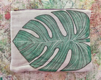 Monstera Block Prints on a Cute Canvas Clutch!