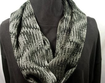 Handwoven Tencel Network Twill Cowl in Silvery Green and Black