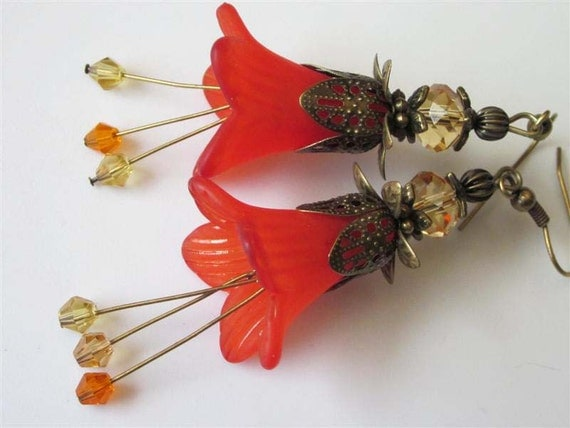 Orange Flower Earrings Blood Orange Lily Blossom Antiqued Brass Filigree Fall Flower Dangle Earrings