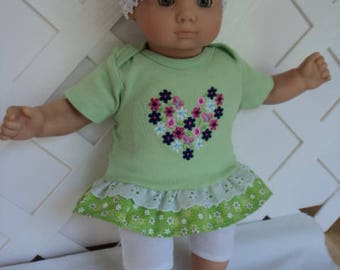 Doll Clothes,  Bitty Baby Girl   3 pc cute Pants dress  outfit  with headband and Leggings
