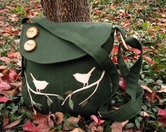 Birds Eco-Friendly Tote, Forest Green, water repellent canvas, Handbag, Tote, Purse, Messenger/ 1 large zipper pocket, 3 large open pockets